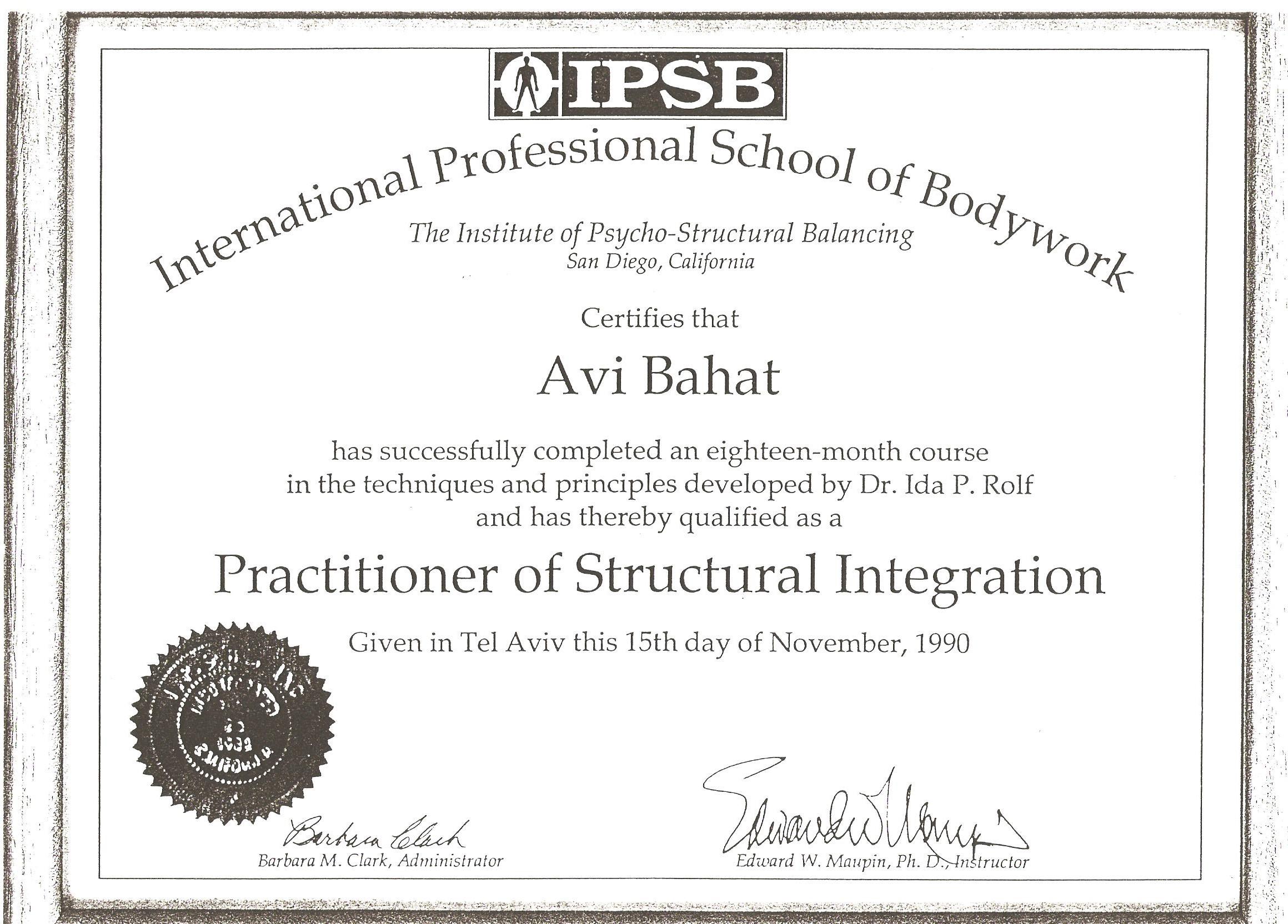 Structural Integration Practitioner 1990